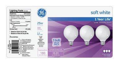 Ge Decorative Bulb White 25 W G25 Med Base Pack / - Globe Ace