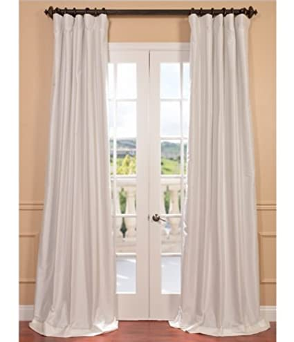 Half Price Drapes PTCH BO120 108 Blackout Faux Silk Taffeta Curtain Eggshell