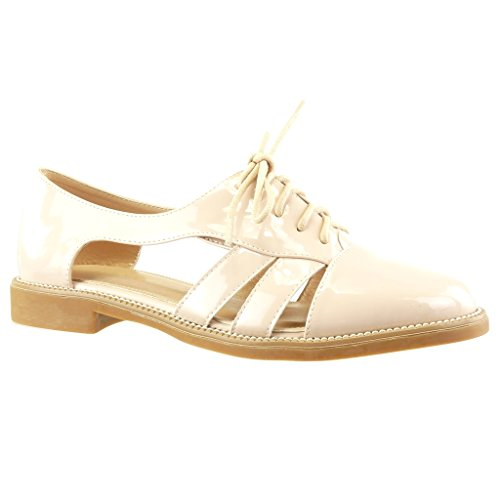 Angkorly - damen Schuhe Sandalen Brogue Schuh - Offen - String Tanga - Fertig Steppnähte Blockabsatz 2 CM - Rosa