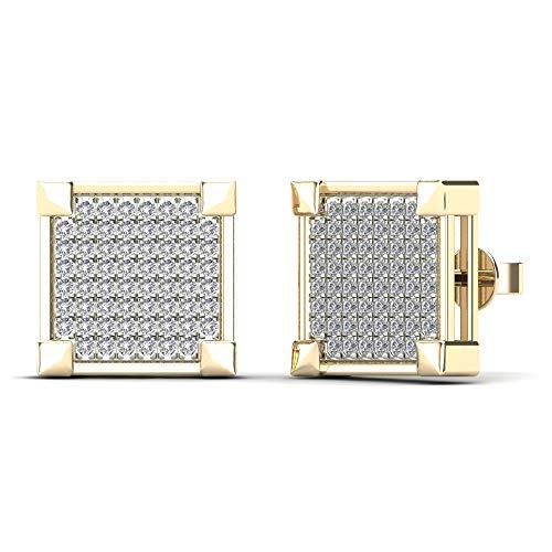 JewelAngel Women's 14K Yellow Gold 3/8ct TDW Diamond Square Stud Earrings (H-I, I1-I2)
