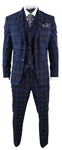 Mens Slim Fit 3 Piece Blue Check Suit Vintage Retro Smart Formal Wedding Party Prom by Cavani