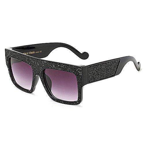 de cristal mujeres gafas tamaño de sol cuadrada aire playa de forma gran verano Exageradas de al gafas grande Retro vacaciones estilo protección UV de Negro sol para conducir las libre de Negro de Color 0tXqwv
