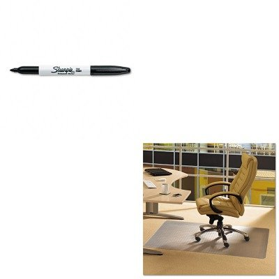 KITFLRPF119225EVSAN30001 - Value Kit - Floortex Cleartex Advantagemat Phthalate Free PVC Chair Mat for Low Pile Carpet (FLRPF119225EV) and Sharpie Permanent Marker (SAN30001) by Floortex
