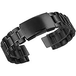 Zeiger Men B011 Replacement Metal Waist Watch Band (Stainless Black 22mm)