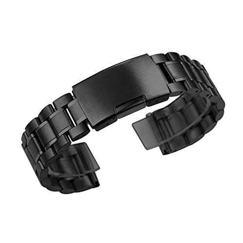 Zeiger Men B011 Replacement Metal Waist Watch Band (Stainless Black 22mm)