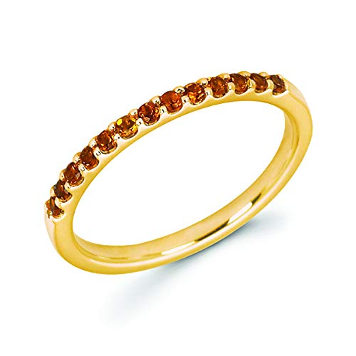 14K Yellow Gold 1/5 Cttw Genuine Citrine Stackable 2MM Wedding Anniversary Band Ring - November Birthstone, Size 7.5
