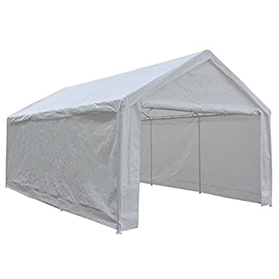 Abba Patio 12 x 20-Feet Heavy Duty Carport, Car Canopy Shelter with Removable Side Panels, Doors and 8 Steel Legs