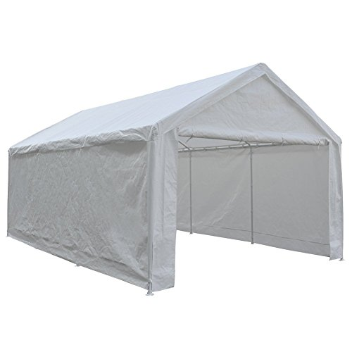 Abba Patio 12 x 20-Feet Heavy Duty Carport, Car Canopy Shelter with Removable Side Panels, Doors and 8 Steel Legs, White ()