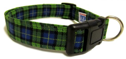 Adjustable Dog Collar in Green Blue Plaid (Handmade in the U.S.A.)