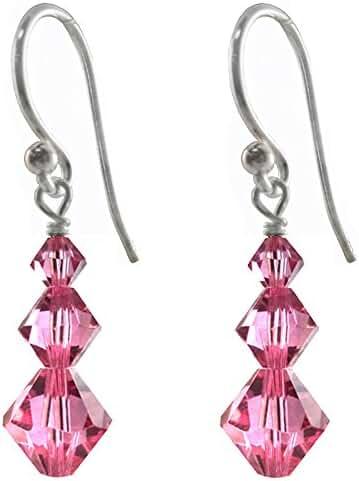 Earrings Made with Swarovski Crystal Elements Rose Color, Pink 3 Bicones, Shepherd-hook