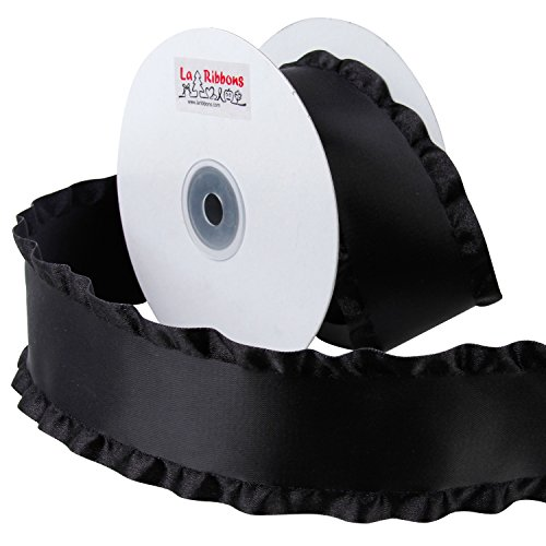 Laribbons 2 Inch Satin Double Ruffle Ribbon 10 Yard/roll (030 Black) - Double Ruffle Ribbon