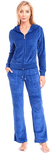 Women's Plus Size Athletic Velour Zip Up Hoodie and Sweat (Royal Blue Group)
