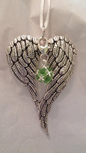 August Birthstone Angel Wings Memorial Christmas Ornament Sympathy (Stones Classic Mothers Ring)