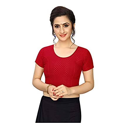 KANCHNAR Women's Cotton Lycra Solid 3/4 Sleeve Blouse