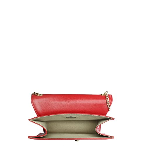 Daniel Ahand Red Leather Push Lock Shoulder Bag Red Leather
