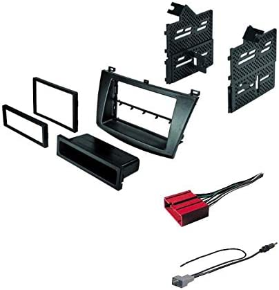 ASC Audio Car Stereo Radio Install Dash Mount Kit and Wire Harness for installing a Double Din Radio for 2004 2005 2006 2007 2008 2009 Mazda3 Mazda 3 Other