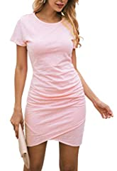 The simplest design create the most fashionable you, fashion and chic. Brand: BTFBM Item Type: Above knee/Mini dress Style: Casual Feature:Ruched/Wrap Front Pattern: Solid Closure Type: Pullover Neckline: Round Neck Sleeve Type: Sleeveless/Sh...