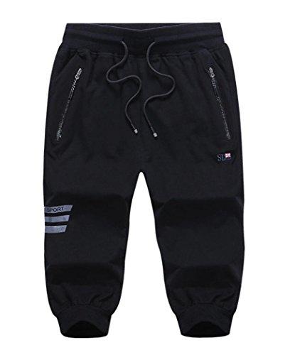 Amoystyle Mens 3/4 Capri Pants Jogger Running Workout Shorts Zipper Pockets