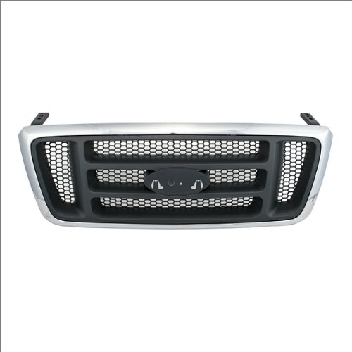 CarPartsDepot, Grille Grill Front Chrome Outer Frame Black Honeycomb Bar Grid Assembly, 400-18153-CB FO1200413 4L3Z8200AA