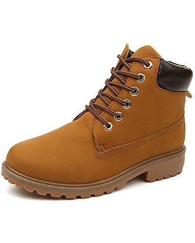 Amarillo Otoño Retro Minetom de Zapatos Trabajo Anti Mujer deslizante Invierno Lazada Botas De Botines Botas Nieve Calentar 5Eqaqw1