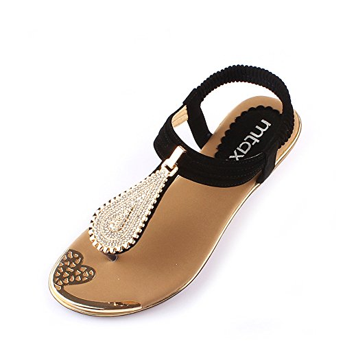 HAIZHEN Women shoes Summer Beach Shoes Fashion Diamond Sandals Low-heeled Slope With Open-toed Shoes Beige/Black for Women (Color : Beige, Size : EU40/UK7/CN41) Black
