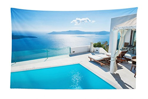 Lunarable Aqua Tapestry, Architecture of The Santorini Island Greece Swimming Pool Blue White Hotel Sea View, Fabric Wall Hanging Decor for Bedroom Living Room Dorm, 45