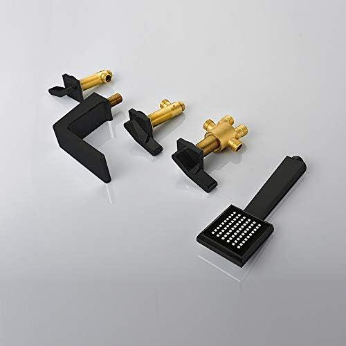 黒バスタブ蛇口3ハンドル5穴浴室バスシャワーセットデッキは、ハンドヘルドシャワーと滝バスタブミキサータップマウント