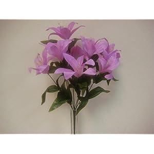 Phoenix Silk 2 Bushes LAVENDER Tiger Lily Artificial Silk Flowers 1 x 10 Bouquet 4069LV 42