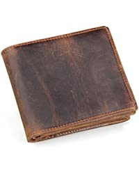 Men's Genuine Leather RFID Blocking Vintage Italian Slim Bifold Wallet Handmade
