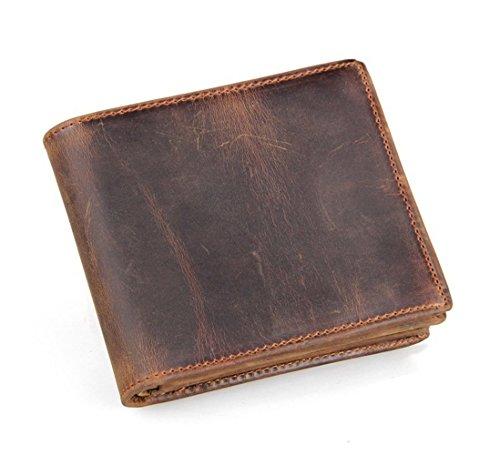 HRS Men's RFID Blocking Vintage Italian Genuine Leather Slim Bifold Wallet - Leather Purse Handmade