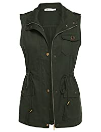 Meaneor Womens Lightweight Sleeveless Military Anorak Vest