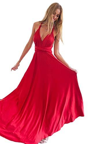 Lunghe Rosso Maniche Da Senza E Aimado Con Scollo Vestiti V A Abito Donna  pfW7qWzwH 2aa32426f3f