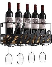 Housolution Wine Rack Wall Mounted, Metal Wine Bottle Holder Wine Decor with 4 Long Stem Glass Holder & Wine Cork Storage for Home Kitchen - Black