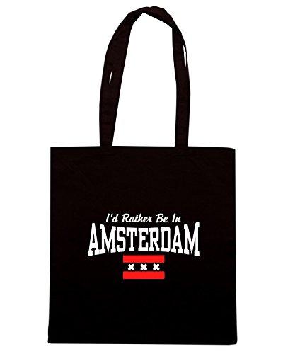 T-Shirtshock - Bolsa para la compra TSTEM0177 id rather be in amsterdam Negro