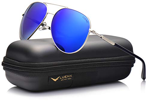 LUENX Mens Womens Aviator Sunglasses Polarized Mirror with Case - UV 400 Protection 60mm Dark Blue ()