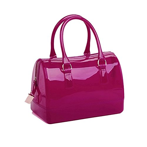 Ladies Summer Jelly Pillow-shaped Top Handle Handbag Candy Color Transparent Crystal Purse (Candy Fuchsia)