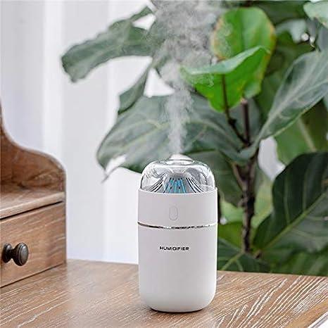 Lichtdiffusoren 320 ML Wei/ß Vulkan Ultraschall Luftbefeuchter USB Auto Nebelhersteller Luftreiniger Aroma Diffusor Luftbefeuchter for Zuhause mit LED-Licht Color : White