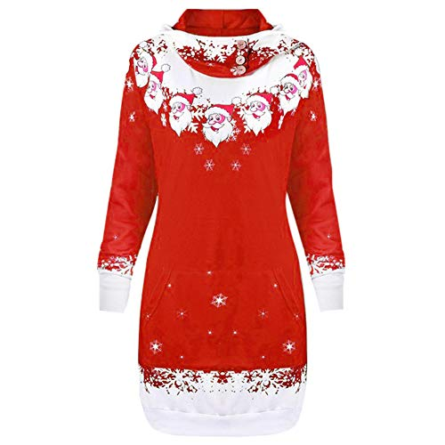 iYBUIA Womens Christmas Santa Claus Snowflake Print Button Decoration Pocket Caps Tops Sweatshirts