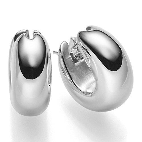 Paire de Boucles d'oreilles créoles 20x 7mm Brillant Créoles en Or Blanc 585Femme
