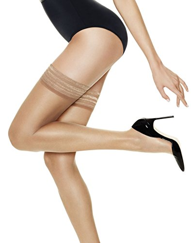 Hanes Silk Reflections Women's Lasting Sheer Thigh High, Barely There, C/D