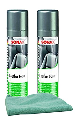 Sonax Leather Foam Cleaner & Conditioner (13.02 oz) Bundle with Microfiber Cloth (3 Items) by Sonax