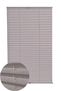 Gardinenbox Plissee Jalousien Klemmträger Klemmfix Sicht- und Sonnenschutz Rollo für Türen Fenster Grau 100x130 (BxH) lichtdu