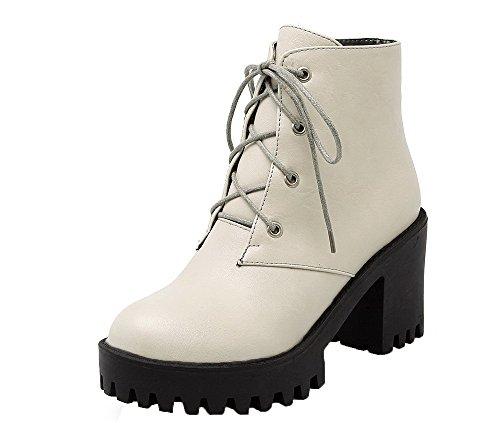 Cerrada Gris Cordones Botas Alto Tacón Mujeres Puntera Sólido PU AgeeMi Shoes xY8qI4v
