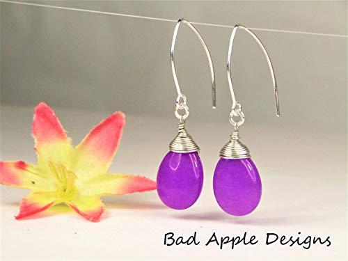 - Purple Jade Teardrop Silver Marquise Earrings