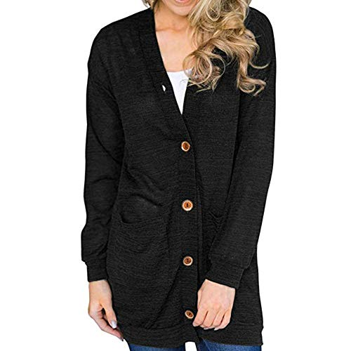 Button Down Cardigan-Han Shi Womens Solid Long Sleeve Soft Sweater Stretchy Sweatshirts (Black, XXL)