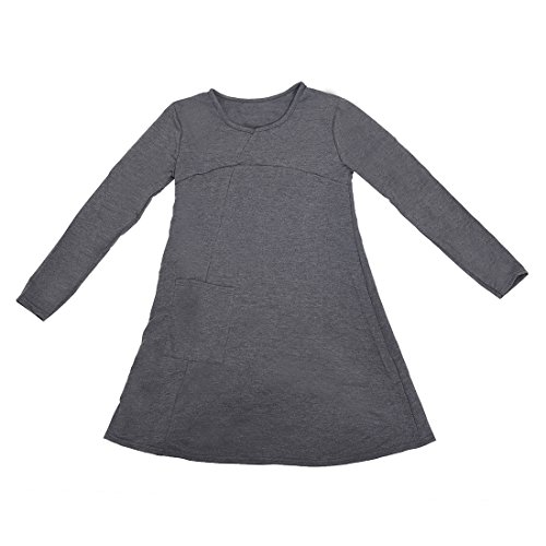 TOOGOO (R)Femmes Split taille Plus pull Chemisier automne pull robe Lache tricote gris fonce L