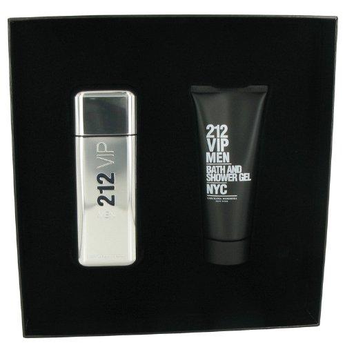 (212 Vip by Carolina Herrera Gift Set -- 3.4 oz / 100 ml Eau De Toilette Spray + 3.4 oz / 100 ml Shower Gel for Men + DOLCE & GABBANA by Dolce & Gabbana Vial (sample) .06 oz for Men)