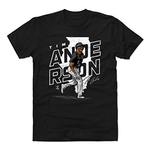 500 LEVEL Tim Anderson Cotton Shirt (Large, Black) - Chicago Baseball Men's Apparel - Tim Anderson Player Map W WHT