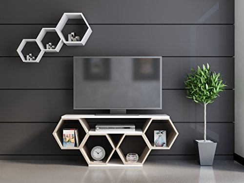Contemporary Honeycomb Design 54 Inches TV Stand, Featuring Five Open Shelves, Chic and Space Saving Style, Both Decorative and Functional, Perfect for Displaying Books and Magazines + Expert Guide by eCom Rocket