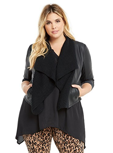 Knit Drape Front Faux Leather Jacket